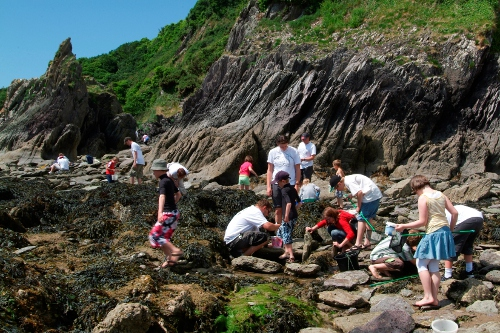 Group of people on a rocky beach
